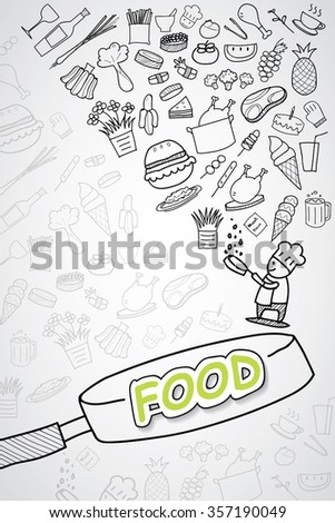 doodle food icons seamless background - stock vector