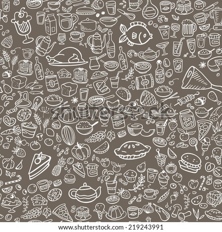 doodle food icons seamless background, vector illustration - stock vector