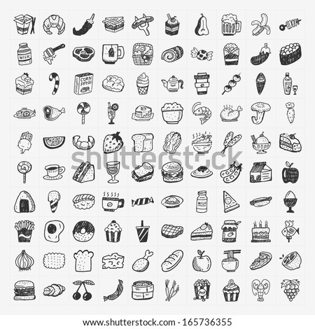 doodle food icons set - stock vector