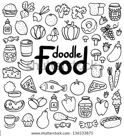 Doodle food set of 50 various products, fruits, vegetables and much more. - stock vector