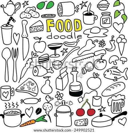 doodle food vector illustration - stock vector