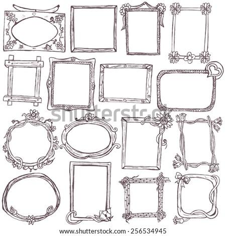 Doodle frames. - stock vector