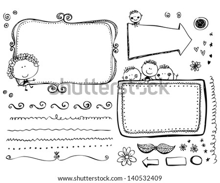 Doodle Frames and design elements - stock vector