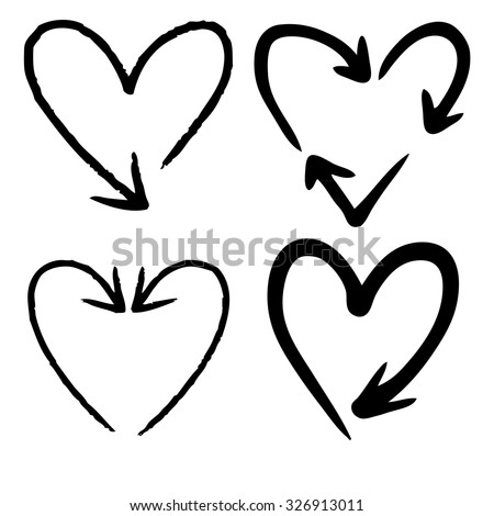 doodle freehand set of heart shaped arrow hand drawn - stock vector