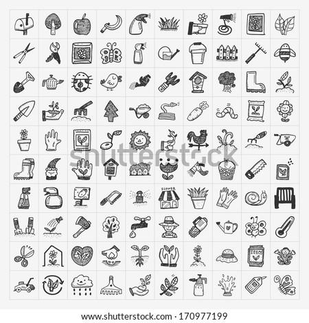 doodle gardening icon - stock vector