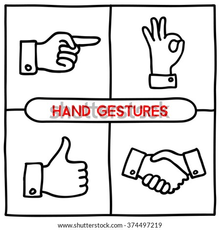 Doodle gestures icons set. Thumbs up, shake hands, ok sign, pointing finger. Hand drawn infographic symbols. Handdrawn line art style graphic design elements. Vector illustration. - stock vector
