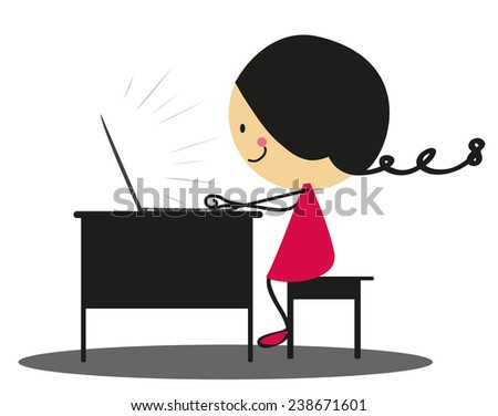 Doodle girl working with laptop - Full Color - stock vector