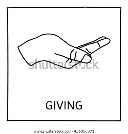 Doodle GIVE icon. Hand drawn gesture symbol. Line art style graphic design element. Giving, sharing, charity, reaching out for help concept. Vector illustration - stock vector