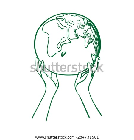 doodle globe in women hands. save earth concept vector illustration - stock vector