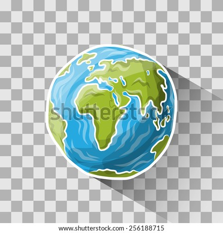 Doodle globe on transparent, vector illustration for your design, eps10 3 layers - stock vector