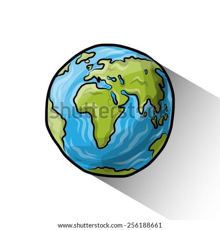 Doodle globe, vector illustration for your design, eps10 2 layers