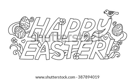 "Doodle graphic lettering ""Happy Easter"" isolated on white background. Vector illustration"