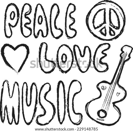 doodle grunge Peace, Love and Music design material isolated on white - stock vector
