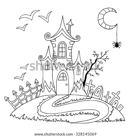 Spooky Tree Coloring Coloring Pages