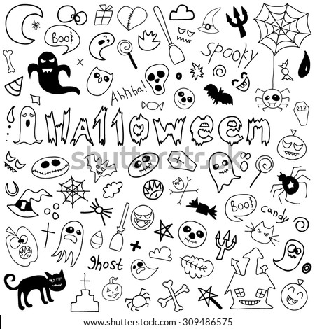 Doodle halloween holiday background. Halloween doodles elements. vector illustration - stock vector