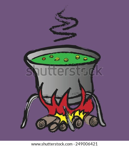 doodle halloween witch's cauldron with green bubbling, vector - stock vector