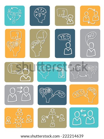Doodle hand draw scheme communication , Business  Ã?Â??oncept of human intelligence with sketchy icons on button. Brain storming. Vector illustration - stock vector