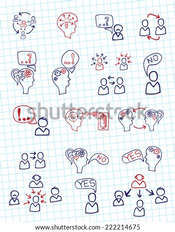 Doodle hand draw scheme communication , Business  Ã?Â??oncept of human intelligence with sketchy icons on Notepaper. Brain storming. Vector illustration - stock vector
