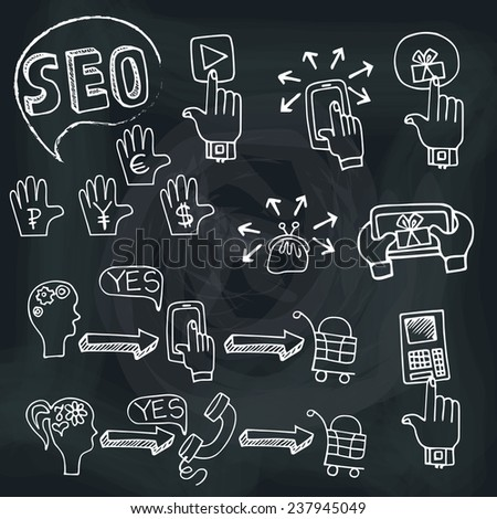 Doodle hand draw scheme main activities related to seo with sketchy icons on chalkboard.Business concept from currency basket,purse. Vector illustration - stock vector