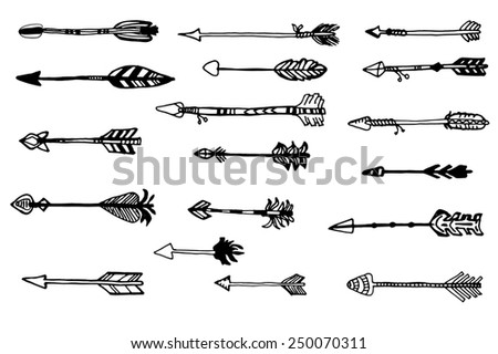 Doodle hand drawn arrows set.  Vector hand drawn sketch. Hunting doodles - stock vector