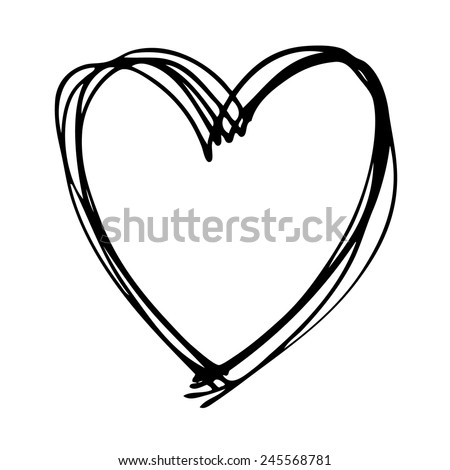 doodle hand drawn heart shaped on white background - stock vector