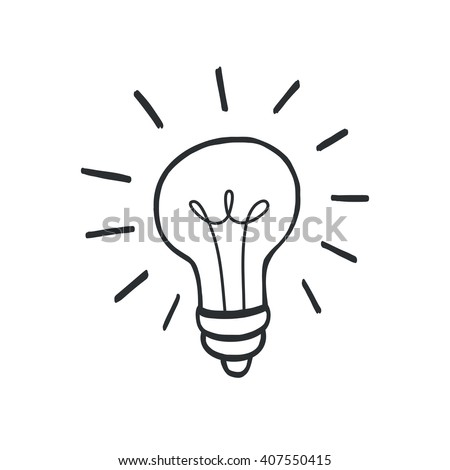Doodle hand drawn shining yellow light bulb isolated on white background. - stock vector