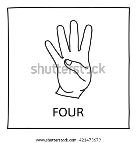 Doodle Hand icon. Four fingers. Isolated on white. Graphic element for teaching math to young children. School printout. Great for showing numbers in a fun and creative way. Vector illustration. - stock vector