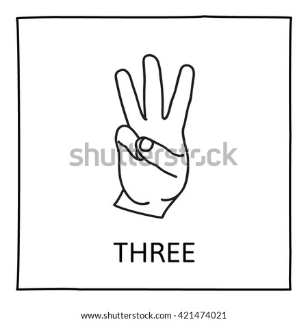 Doodle Hand icon. Three fingers. Graphic element for teaching math to young children. School printout. Palm symbol. Great for showing numbers in a fun and creative way. Vector illustration. - stock vector