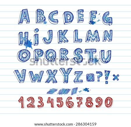 Doodle hand written alphabet, unique font - stock vector