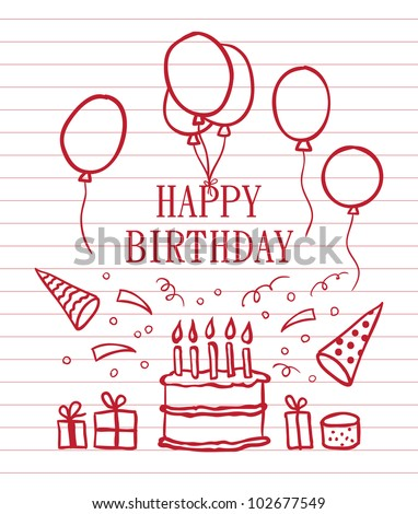 Doodle Happy Birthday card. Vector illustration - stock vector