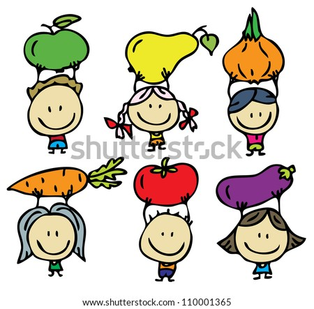 Doodle happy kids with fresh fruits and vegetables - stock vector