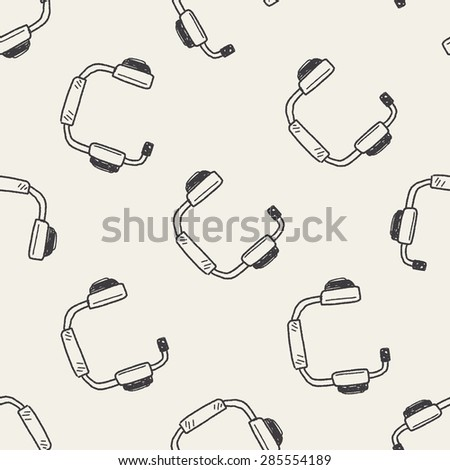 Doodle Headphone seamless pattern background - stock vector