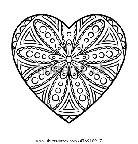 Doodle Heart Mandala Coloring Page Outline Stock Vector 476918917 ...