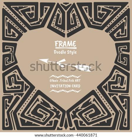 Doodle heart vector tribal ethnic style frame .Bohemian Invitation card.Heart  banner. - stock vector