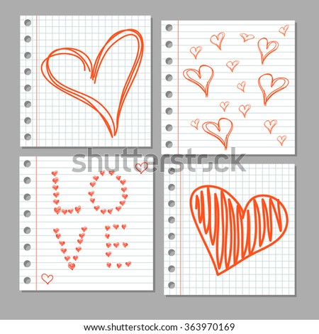 Doodle hearts on notebook page. VECTOR set.  - stock vector