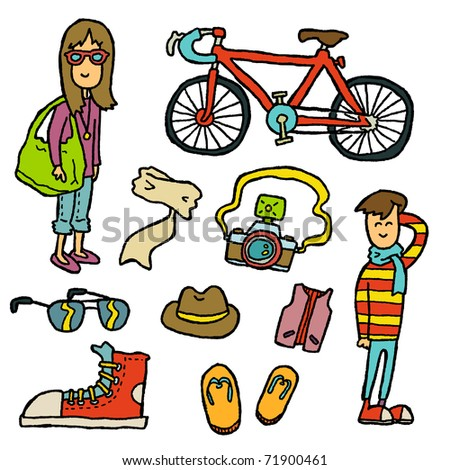 Doodle Hipster. A set of hipster-ly items. - stock vector