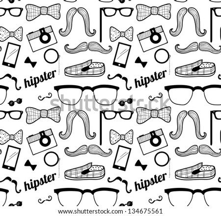 Doodle hipster's seamless pattern.
