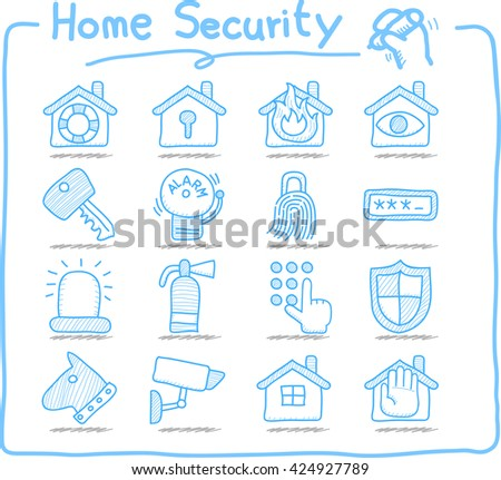 Doodle Home security concept icon set