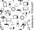 doodle hotel pictures pattern - stock photo