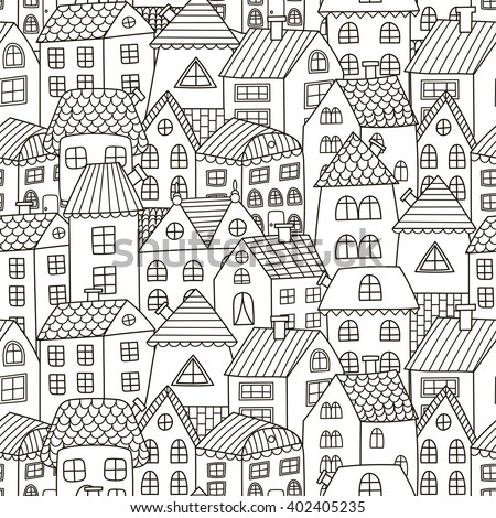 Doodle houses seamless pattern. Black and white city background. Great for coloring book, wrapping, printing, fabric and textile. Vector illustration - stock vector