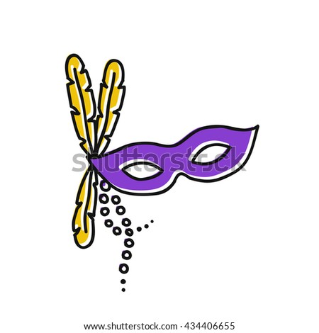doodle icon. carnival mask. Mardi Gras symbol. vector illustration - stock vector
