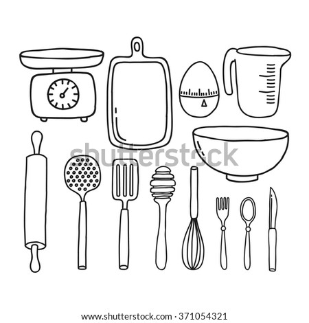 doodle icon. kitchen accessories and tools. vector illustration - stock vector