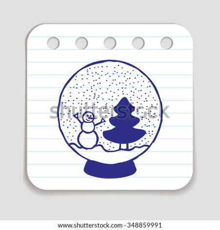Doodle icon of Snow Ball with Christmas Tree and Snow Man. Blue pen hand drawn infographic symbol on a notepaper piece. Line art style graphic design element. Web button with shadow. - stock vector