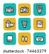 doodle icon set - cameras - stock vector
