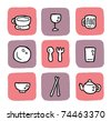 doodle icon set - dining - stock vector