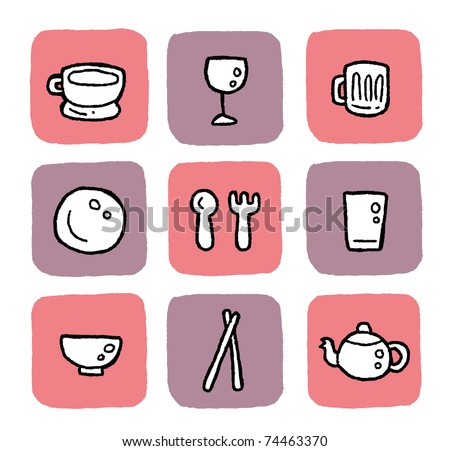 doodle icon set - dining