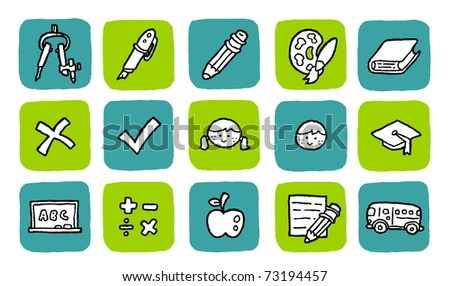 doodle icon set - education - stock vector