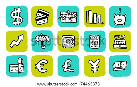 doodle icon set - finance