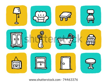 doodle icon set - furniture - stock vector