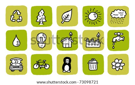 doodle icon set - green